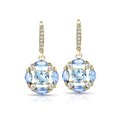 Yellow Gold Flashed Sterling Silver Blue Topaz, Tanzanite and White Topaz Circle Dangle Leverback Earrings