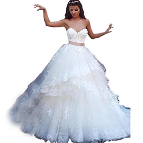 Kimbridal Lace Wedding Dresses for Bride Tulle Ruffles Ball Gown with Satin Belt