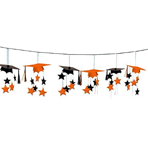 Amscan School Colors Graduation Party 3-D Mortarboard and Stars Foil Garland Decoration (1 Piece), Orange/Black, (Black And Orange Party Decorations)