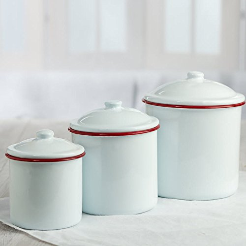 Factory Direct Craft Set of 3 White Enamelware Canister Set with Red Trim for Home Decor, Gifting and (Enamelware Canister)