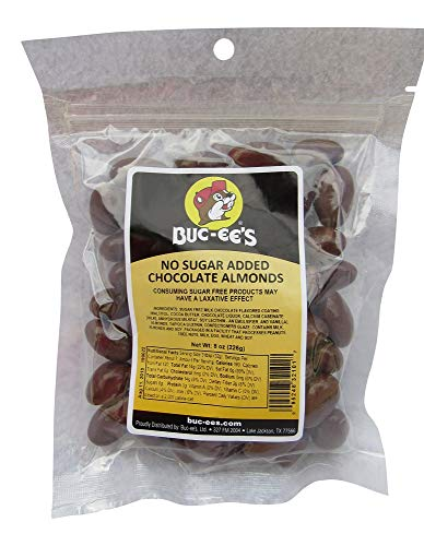(Buc-ee's No Sugar Added Chocolate Covered Almonds in a Resealable Bag, 8 Ounces)