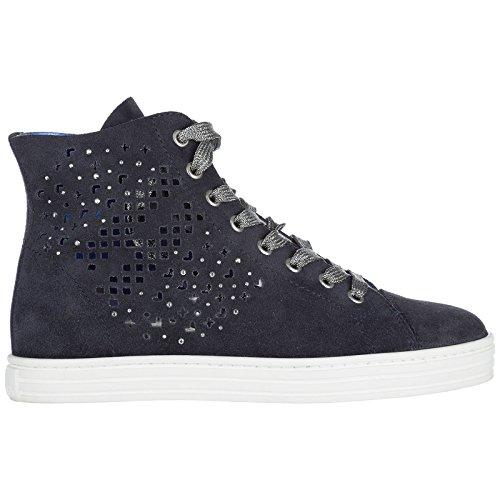 Hogan Chaussures r182 Sneakers Femme en Daim Hautes Baskets Rebel Blu SOrawSZx