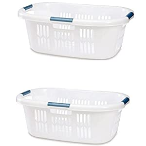 Rubbermaid 1.5 BU Hip-Hugger Laundry Basket, White (2 Pack), Bundle
