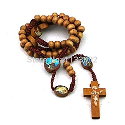 """Davitu Pendant Necklaces - 50pcs/lot Mix 3colors 30"""" Wooden Beads Rosary Necklace with Bible Image Beads & Woodcut Cross Necklace"""