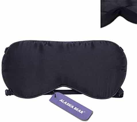 ALASKA BEAR® Natural silk sleep mask & blindfold, super-smooth eye mask (2 Straps(w/Nose Baffle))