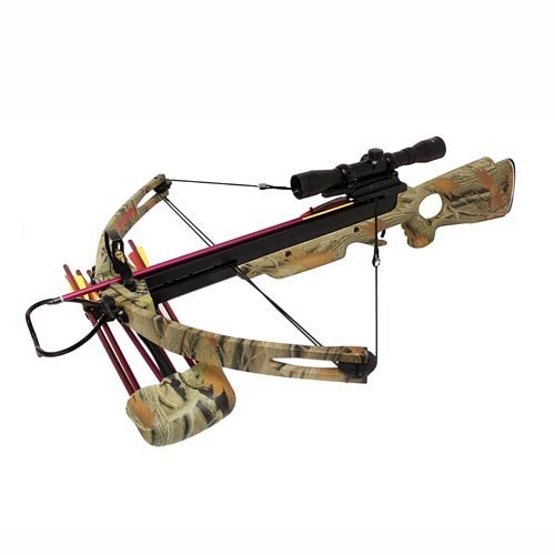 Spider 150 lb Compound Crossbow 4x32 Scope + Extra Arrows + Quiver + Rope Cocking Device + Broadheads Package