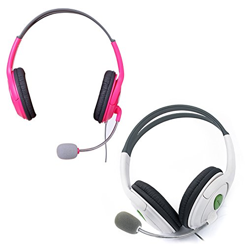 HDE XBOX 360 Headset Headphone Mic Game Chat Live Microphone Compatible with Wireless Controller (2-Pack PINK & WHITE)