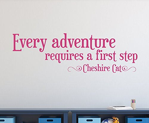 Every Adventure Requires a First Step Wall Decal - Cheshire Cat - Alice in Wonderland Quote Decal - Quote Decal - Motivational Quote