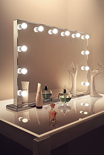 Diamond X Mirror Finish Hollywood Makeup Mirror Cool White LED k253CWaud