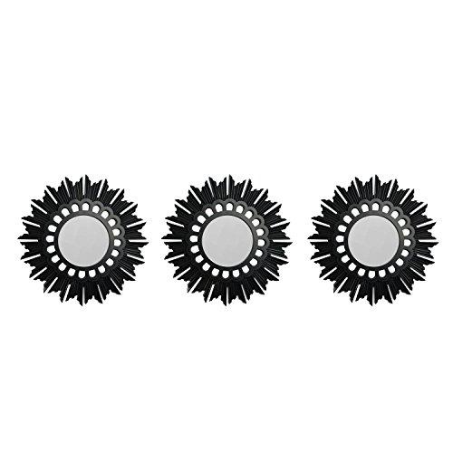 Set of 3 Flower Starburst Inspired Matte Black Decorative Round Mirrors 9.5'