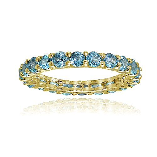 Ice Gems Yellow Gold Flashed Silver Swiss Blue Topaz 3mm Round-Cut Eternity Ring, Size 7