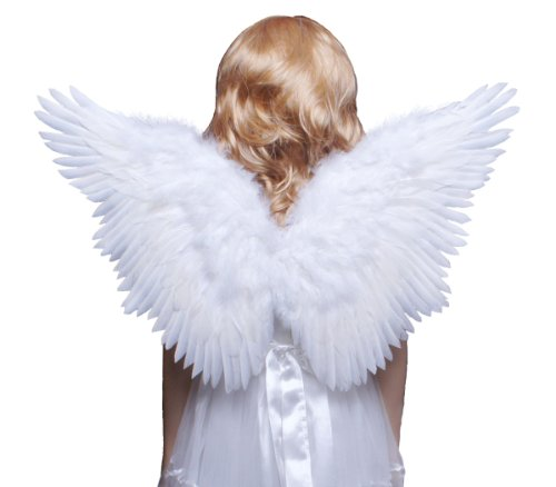 White Angel Costume (FashionWings (TM) Children's White Butterfly Style Costume Feather Angel Wings Halo)