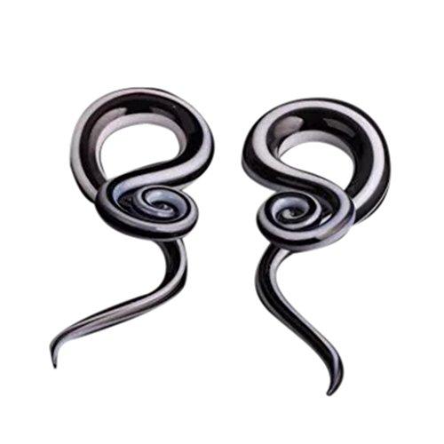 DENER Men Women Snail Spiral Glass Hook Taper Ear Clip Stud Hoop Dangle Drop Earrings Jewelry (12mm)