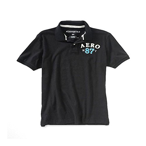 Aeropostale Aero Logo Men's Jersey Graphic Polo Shirt (S, Black 7971)