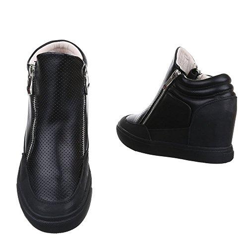 wedge Damen Schuhe Sneaker Ital-design Keilabsatz Keilabsatz High-top Freizeitschuhe Reißverschluss Schwarz
