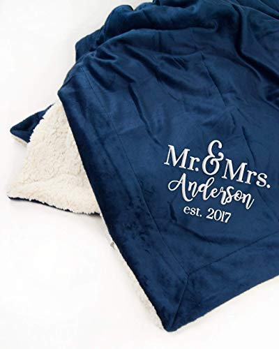 Mr. and Mrs. Established Mink Sherpa Throw Blanket | PERSONALIZED Wedding Gift