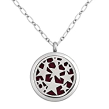Charmed Craft Star Aromatherapy Essential Oil Diffuser Necklace Stainless Steel Locket Pendant