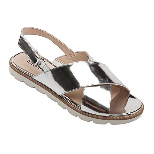 Pic/Pay Cayden Women's Sandals - Leather Slingback Flat Sandal Silver Metallic Leather 7.5M ()