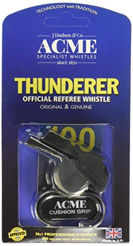 ACME Thunderer Finger Grip Metal Whistle Nickel-Plated (477/58.5) - Referee Jersey Hockey