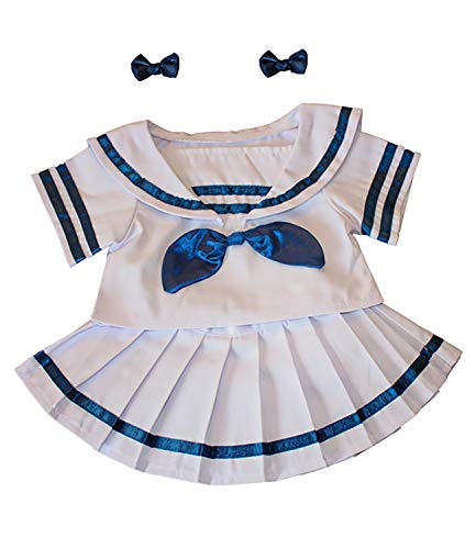 "Sailor Girl w/Bows Dress Outfit Teddy Bear Clothes Fits Most 14"" - 18"" Build-A-Bear and Make Your Own Stuffed Animals from Stuffems Toy Shop"