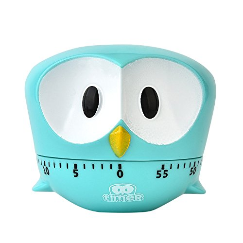 Weite Manual Kitchen Timer, [Loud Alarm] Durable Lovely Owl Shaped Mechanical Rotating Alarm with 60 Minutes for Cooking (Sky Blue)
