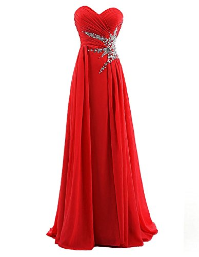 Dresstells Sweetheart Beading Floor-length Chiffon Prom Dress Evening Gown Red Size 26W (Red Bridesmaid Dresses Size 26)