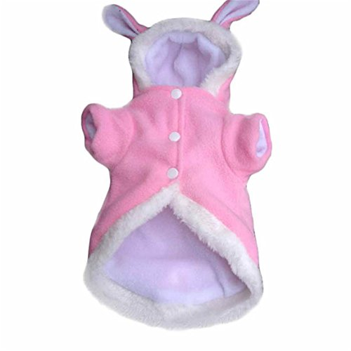 HN Plush Rabbit Outfit with Hood & Bunny Ears for Small Dogs & Cats (S, Pink) ()