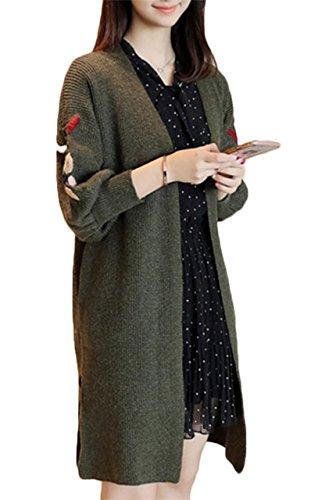 (エスティーリーフ)Esty leaf レディース 花柄 刺繍 ニット ロング カーディガン 長袖 ゆったり 膝丈 大きいサイズ 森ガール フリー 緑 グリーン
