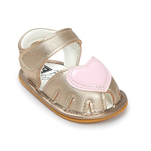Isbasic Baby Girls Summer Pu Leather Soft Soled Sandals Shoes (0-6 months, gold) (Leather Soft Footwear Gold)