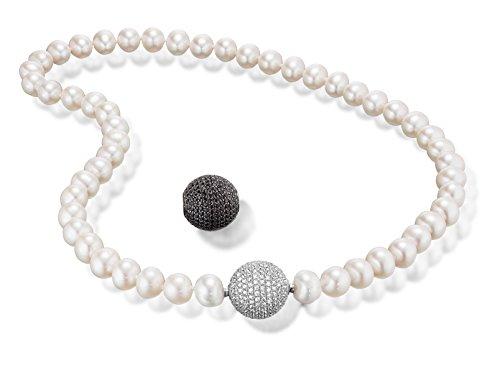 Luxury Silver perle chaîne Fermeture avec changement 2(15mm) en argent sterling 925avec Zirconium Blanc et Noir