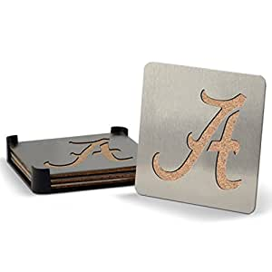 NCAA Alabama Crimson Tide Boasters, Heavy Duty Stainless Steel Coasters, Set of 4