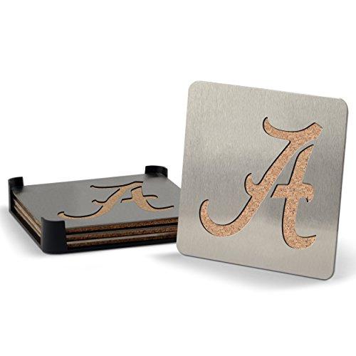 NCAA Alabama Crimson Tide Boasters, Heavy Duty Stainless Steel Coasters, Set of (Alabama Crimson Tide Coaster)