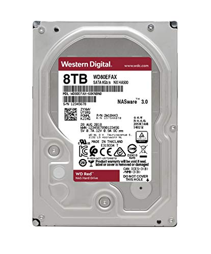 WD Red 8TB NAS Internal Hard Drive - 5400 RPM Class, SATA 6 Gb/s, 256 MB Cache, 3.5'' - WD80EFAX by Western Digital (Image #2)