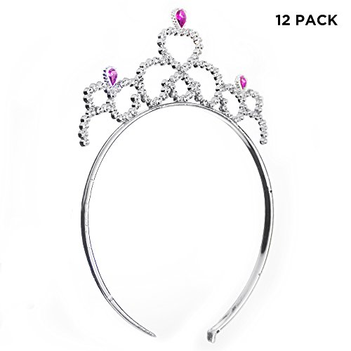 (12 Pack) Princess Tiaras Headband with Pink Gems for Girls Party (Party City Tiaras)