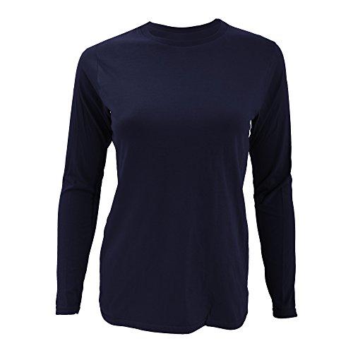 Anvil- Camiseta Fashion de manga larga lisa ajustada para chica/mujer Azul caribeño