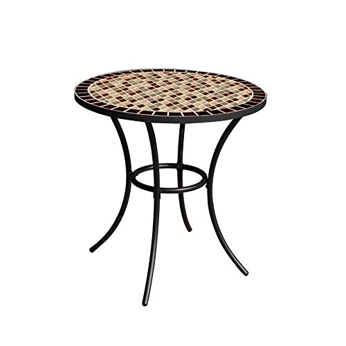 (Garden Treasures Round Steel Bistro Table, Diamond Mosaic Tiles Tabletop, Black Powder-Coated Finish, 28-in W x 29-in H)