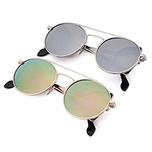 Round Sunglasses for Men and Women Stylish Side Mirror Lens Polarized UV Protection 2 Pack