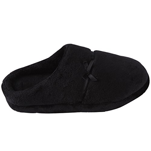 Forfoot Womens Soft Flannel Short Plush Lining Slip-On House Slippers Indoor/Outdoor Black