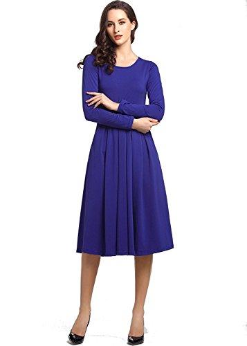 Manica Abito Vestiti Lunga Beluring da Reale Blu Cocktail Midi Elegante Cotone Estate Donna Partito qtqpwCv