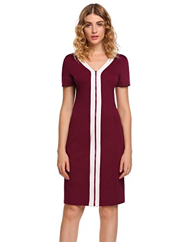 Casual Neck Red Sheath 4 Sleeve 3 Womens Round Business A1 Stripe ANGVNS Wine Dress qHO86Bw
