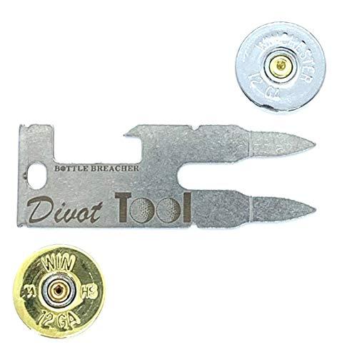 (MooreGolfing Divot Repair Tool Ball Mark 12 GA Shotgun Silver Gold Pack)