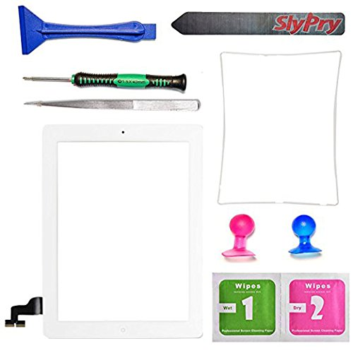 SlyPry Black Ipad 2 Digitizer Touch Screen Front Glass Assembly - Home Button + Camera Holder + Frame Bezel + Preinstalled Adhesive + Cleaning Kit with Slypry Premium Tool Kit (white)