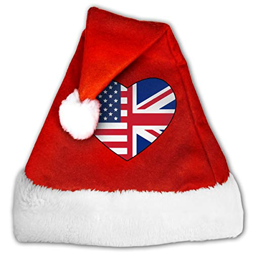 WAN1W0 Us UK Flags Heart-1 Christmas Hat, Red&White Xmas Santa Claus' Cap for Holiday Party Hat -