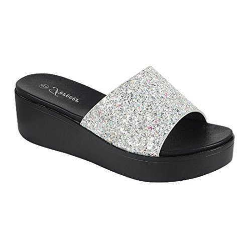 Sandals Womens FOREVER Heel Wedge Glitter Slide FQ46 Silver Band Wide SFq85F