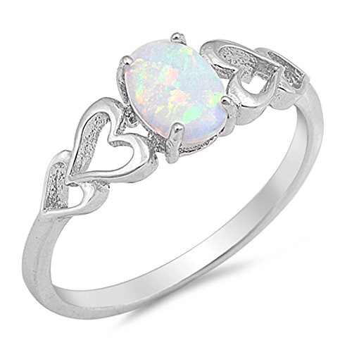 White Simulated Opal Oval Heart Cutout Promise Ring .925 Sterling Silver Size 4