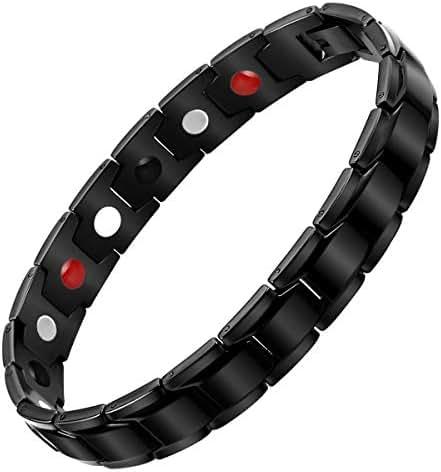 Aqonsie Pure Titanium Magnetic Therapy Bracelet Healthy Fashion Magnetic Bracelet Elegant Gift for Unisex 4 Element Magnetic Bracelets Adjustable with Removal Tool(Black)