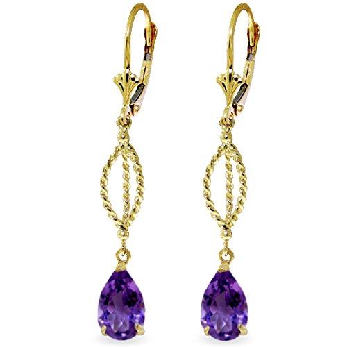 3 CTW 14K Solid Gold Fleur De Lis Amethyst Earrings