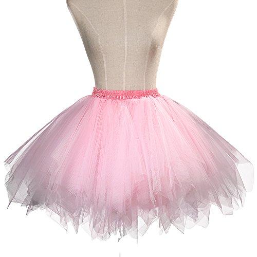 Sheicon Women Short Skirts 50s Vintage Petticoat Skirt Ballet Bubble Tutu Party Color Pink Size One Size - Corset Tutu