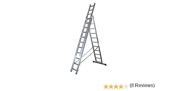 ALTIPESA Escalera Profesional de Aluminio Triple Tijera un Acceso con Tramo Extensible 3 x 11 peldaños Serie Triple: Amazon.es: Hogar