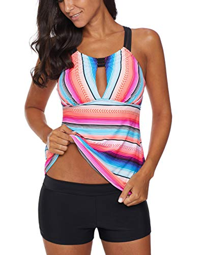 (Eternatastic Women's Two Piece Strips Printed Tankini Tops Racer Back Swimsuit Set XXL Pink-9)
